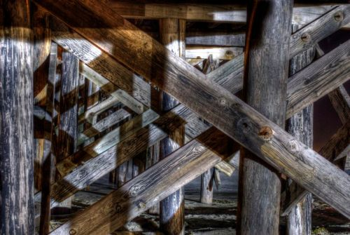 An HDR of the Goleta Dock from beneath.