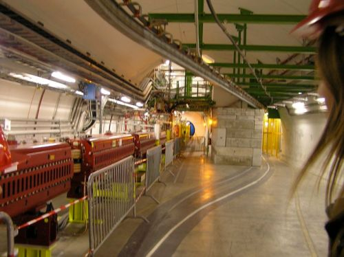The LHC beam line leading to the ATLAS detector.
